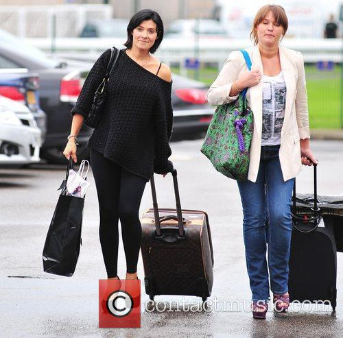Kym Marsh and a friend are seen arriving...