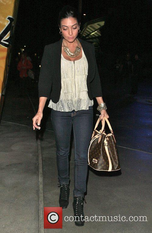 Courtney Mazza leaves the Staples Center after watching...