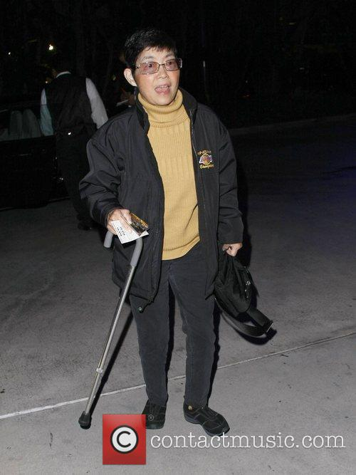 Kultida Woods leaves the Staples Center after watching...
