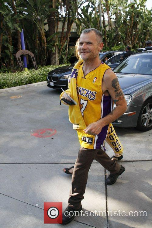 Flea  arriving at the Staples Center to...