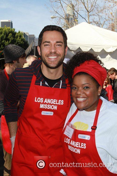 Zachary Levi and Yvette Brown Celebrities volunteer on...