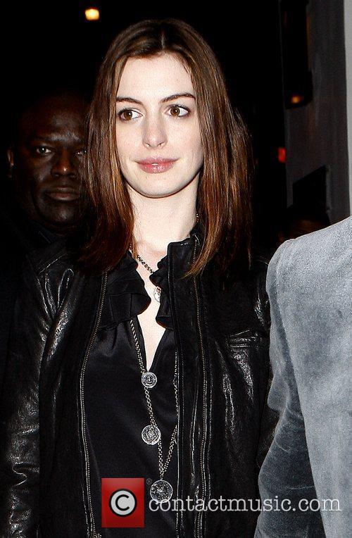 Anne Hathaway leaving La Vida restaurant in Hollywood...