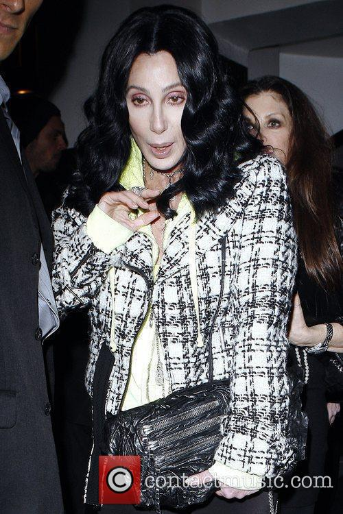 Cher leaving La Vida restaurant in Hollywood after...