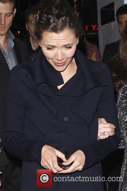 Maggie Gyllenhaal leaving La Vida restaurant in Hollywood...