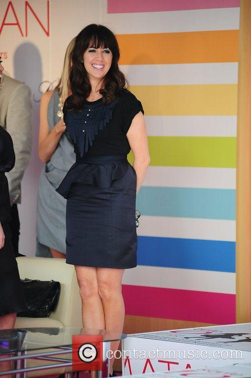 Sheree Murphy watching the racing from a private...