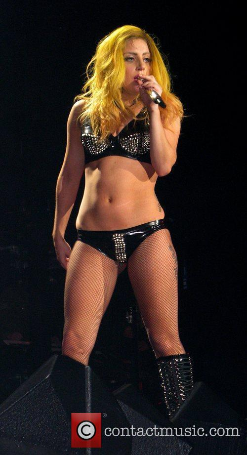 Singer Lady Gaga performing at the O2 Arena.