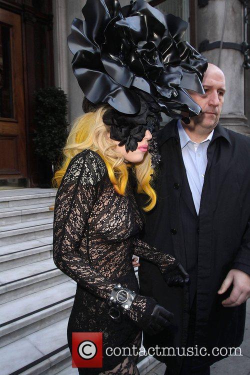 Lady Gaga leaving her hotel this morning wearing...