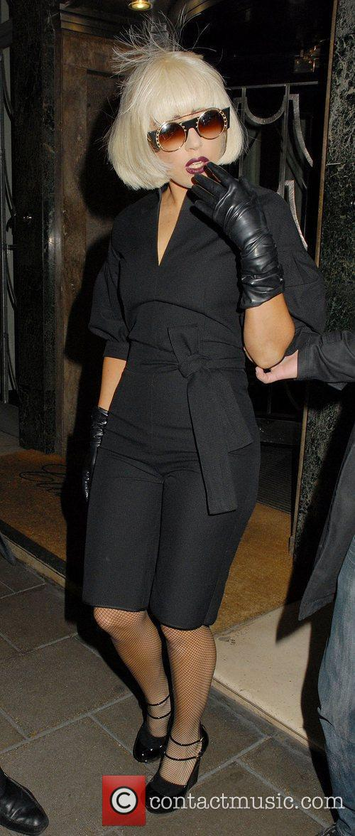Lady Gaga leaving her hotel
