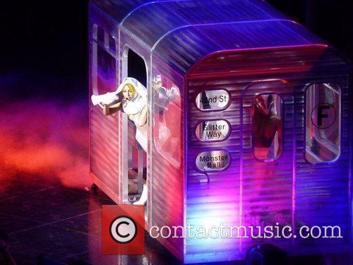 Lady Gaga performing in Philadelphia during her Monster...