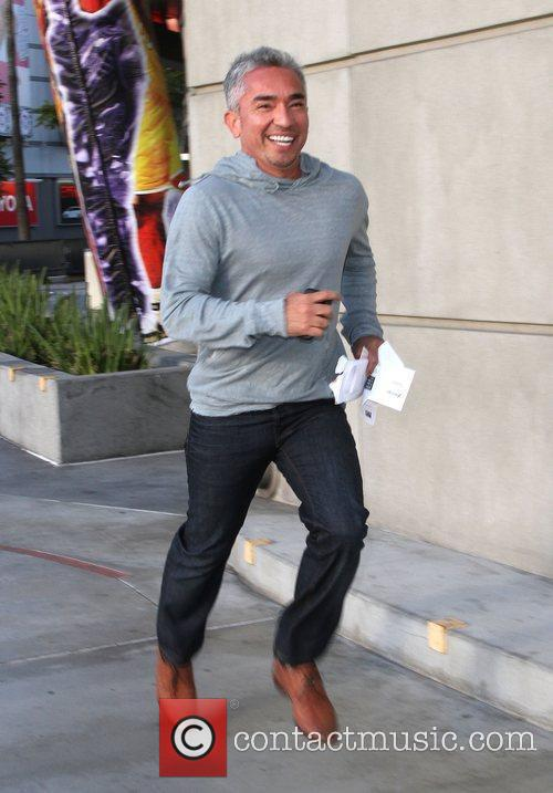 Cesar Millan outside the Staples Center to watch...