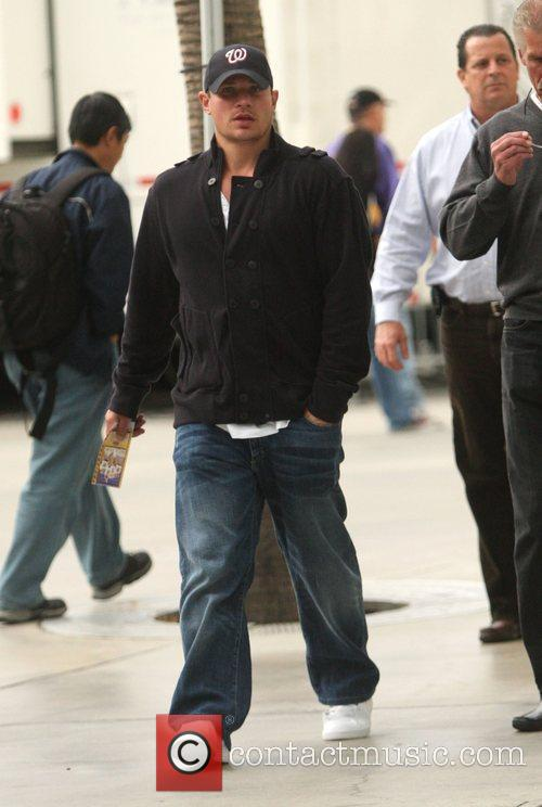 Nick Lachey outside the Staples Center to watch...