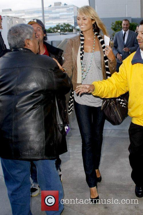 Stacy Keibler outside the Staples Center to watch...