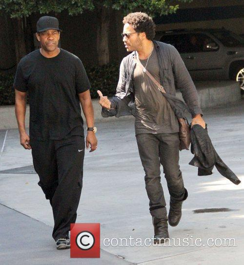 Denzel Washington and Lenny Kravitz on their way...