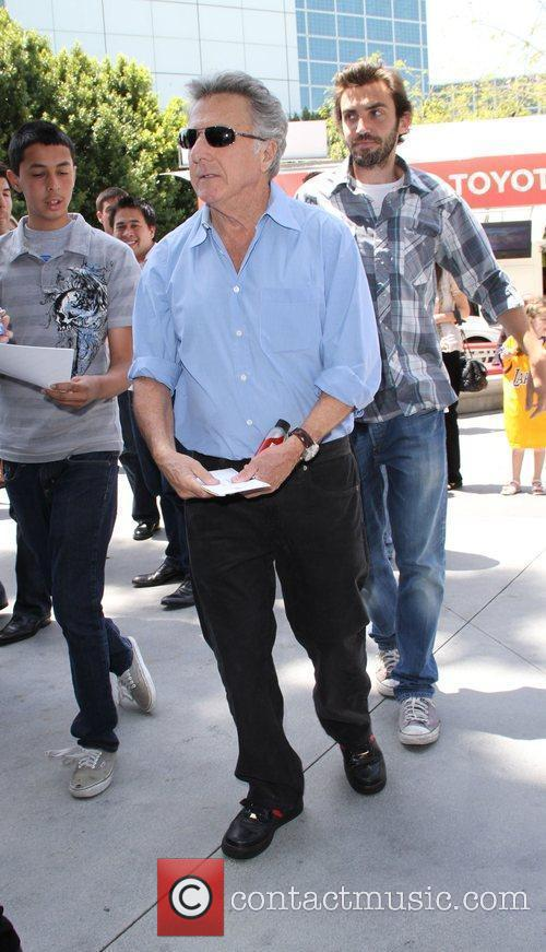 Dustin Hoffman celebrities attending the Lakers game at...