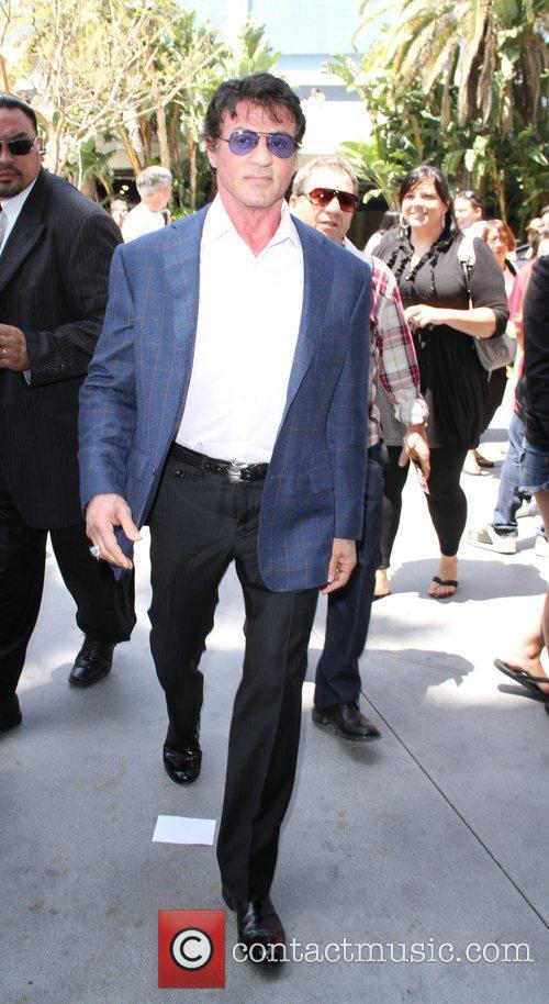 Slyvester Stallone celebrities attending the Lakers game at...