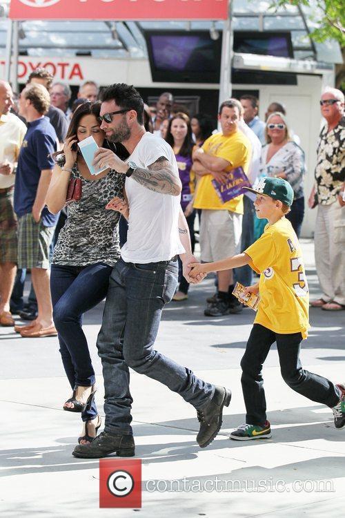 Adam Levine Celebrity arrivals at the Staples Center...