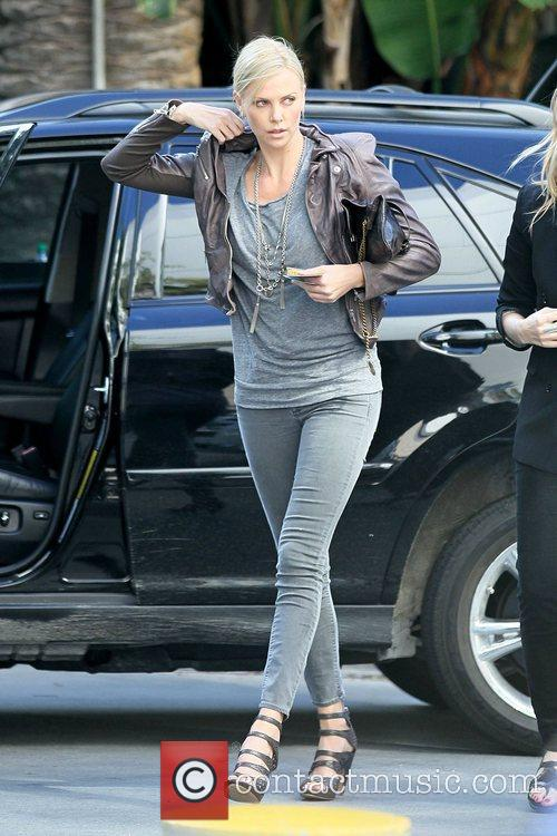 Charlize Theron Celebrities arriving at the Staples Center...