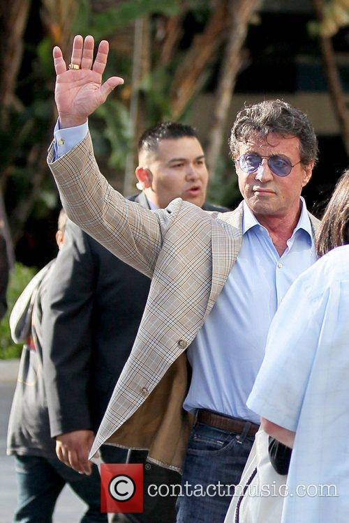 Sylvester Stallone Celebrities arriving at the Staples Center...