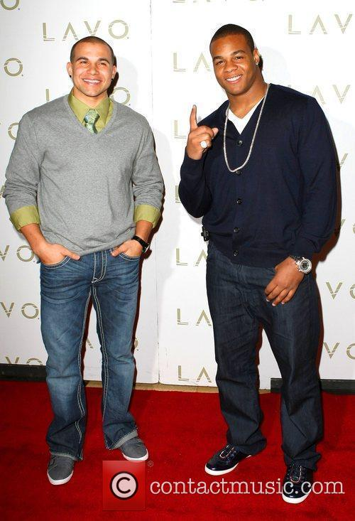 Superbowl champions Lance Moore and Pierre Thomas of...