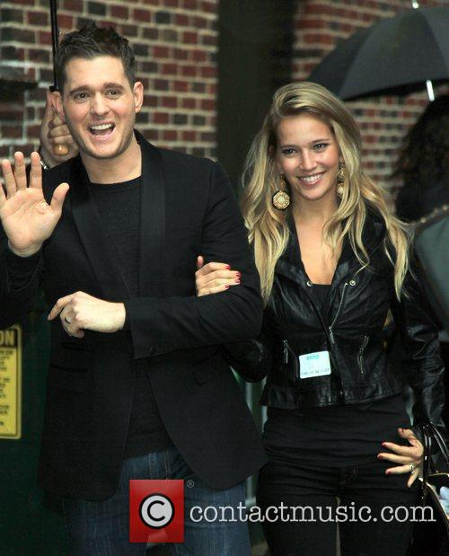 Singer Michael Buble and David Letterman 2