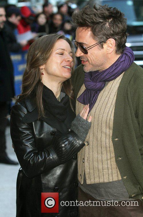 Susan Downey, David Letterman and Robert Downey Jr 7