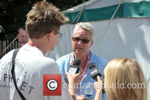 Festival organiser Melvin Benn talks to the media...