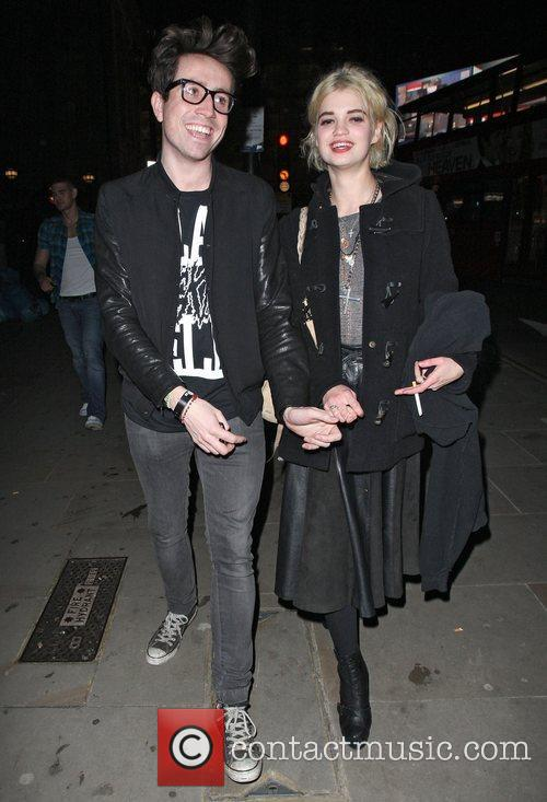 Nick Grimshaw and Pixie Geldof leaving the Le...
