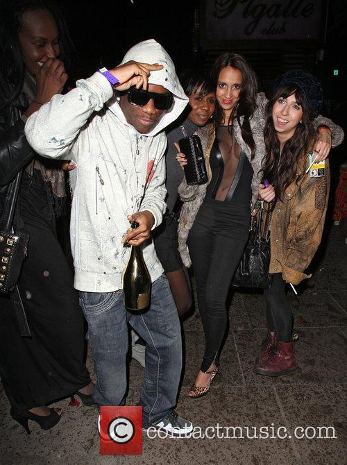 Tinchy Stryder leaving the Le Pigalle club after...