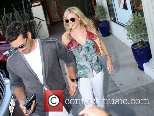 Depart Nobu in Malibu wearing matching white jeans
