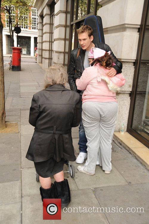 Lee Ryan meets celebrity hugger Tanya Macintosh outside...