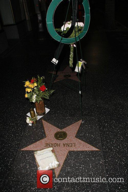 Flowers are placed on Lena Horne's star on...