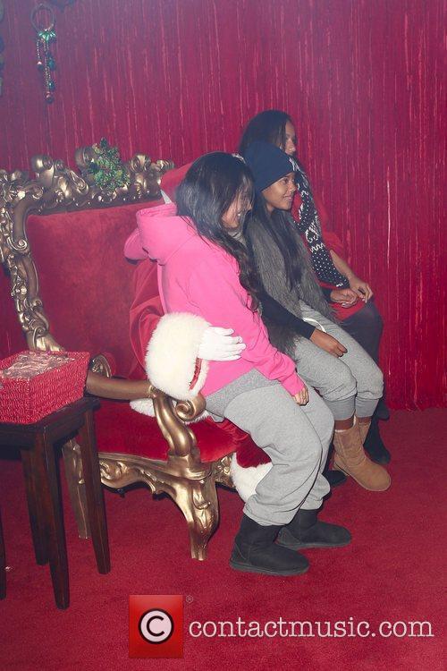 Leona Lewis visits Santa at Santa's house in...