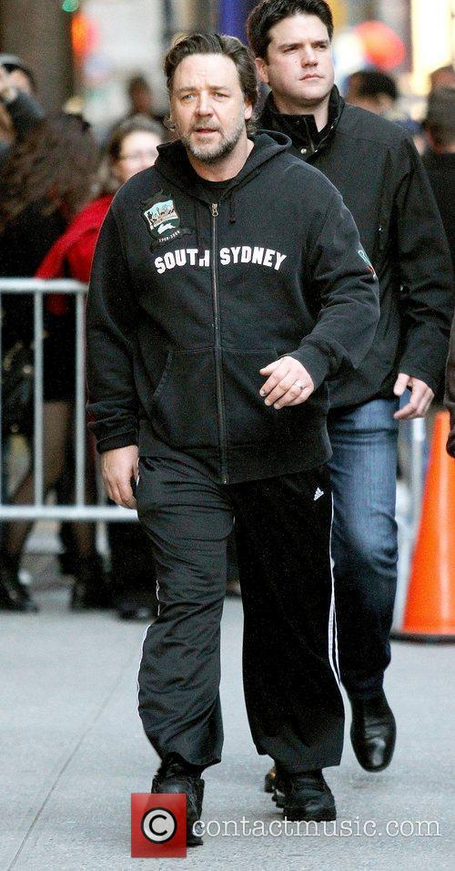 Russell Crowe,  outside The Ed Sullivan Theater...