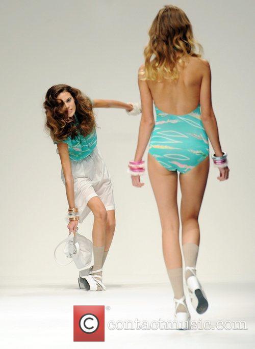 A model takes a tumble London Fashion Week...