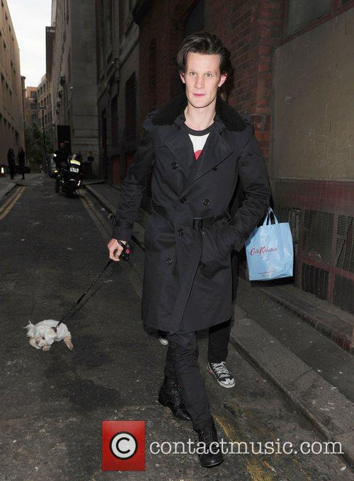 Matt Smith and his dog London Fashion Week...