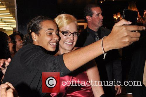 Interacts with fans following the premiere of 'Life...