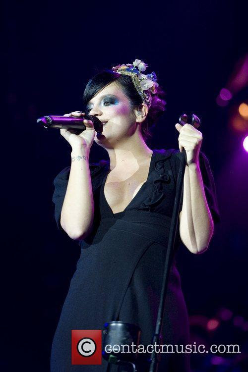 Lily Allen performing at the O2 Arena