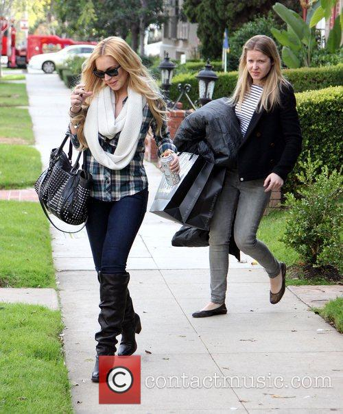 Lindsay Lohan leaves a friends house in Beverly...