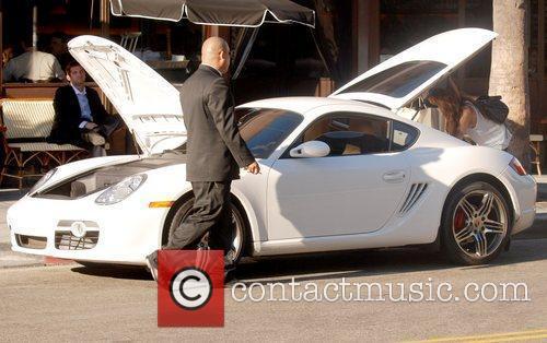 Lindsay Lohan's Porsche Cayman S parked on Robertson...