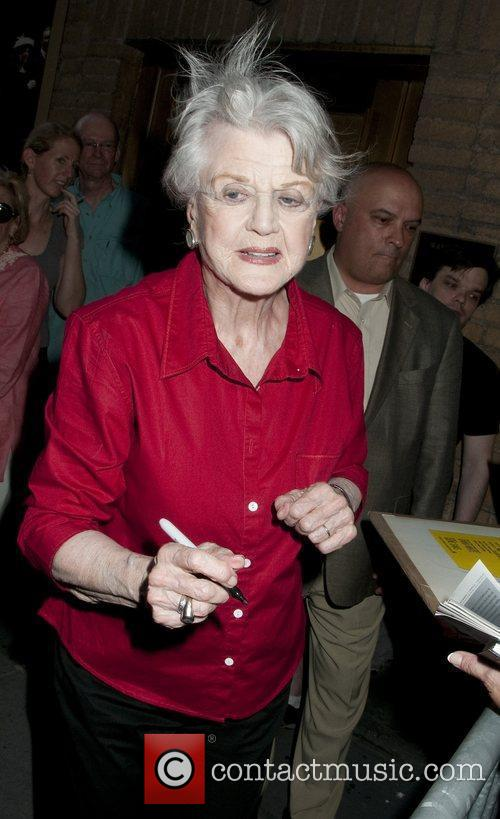 Angela Lansbury leaves by the stage door on...