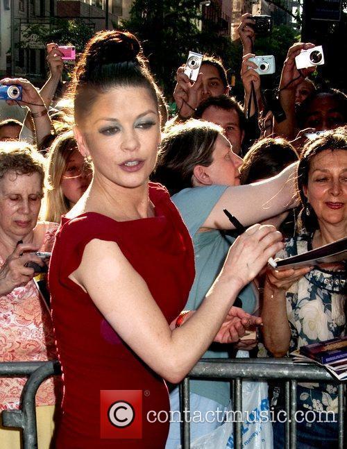 Catherine Zeta Jones leaves by the stage door...