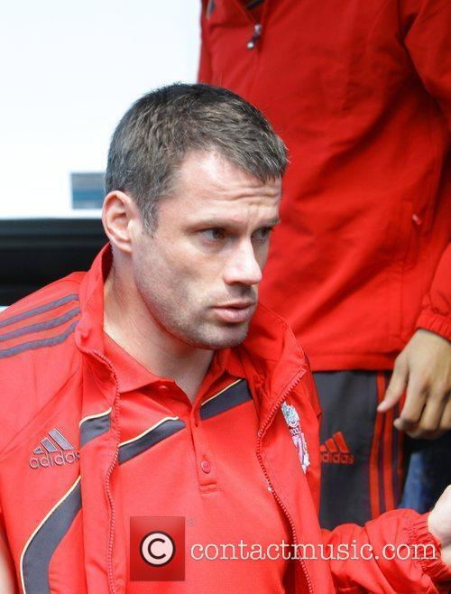 Jamie Carragher catching a train at Runcorn station...