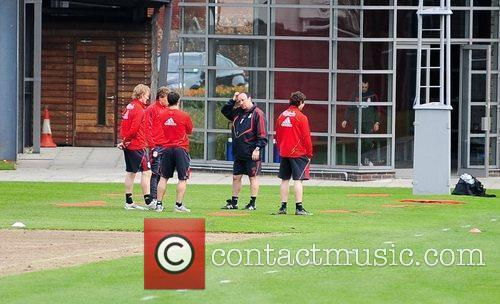 During a training session at Melwood training ground...