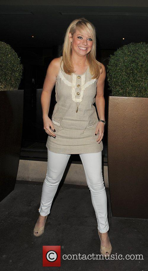 Liz McClarnon leaving the Mayfair Hotel with a...