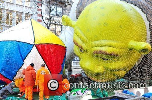 Macy's Thanksgiving Day Parade balloons are inflated in...