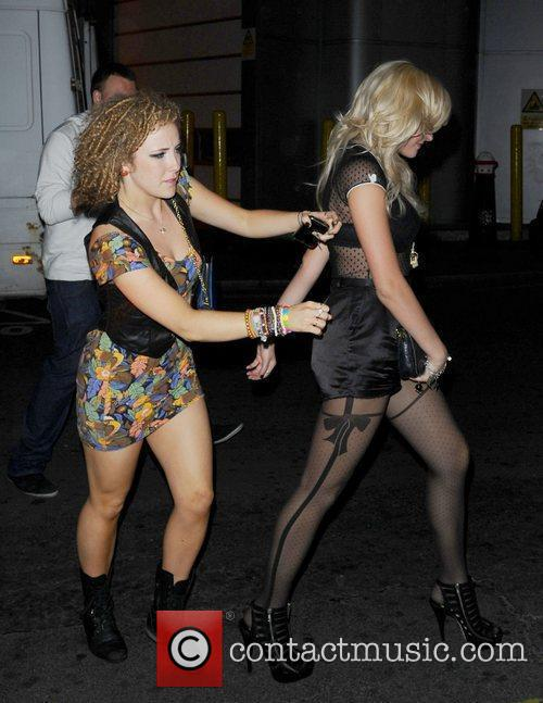 Pixie Lott leaving Mahiki and heading to Fabric...