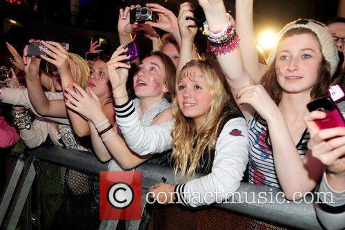 Fans attend the 'Christmas Lights Switch On' at...