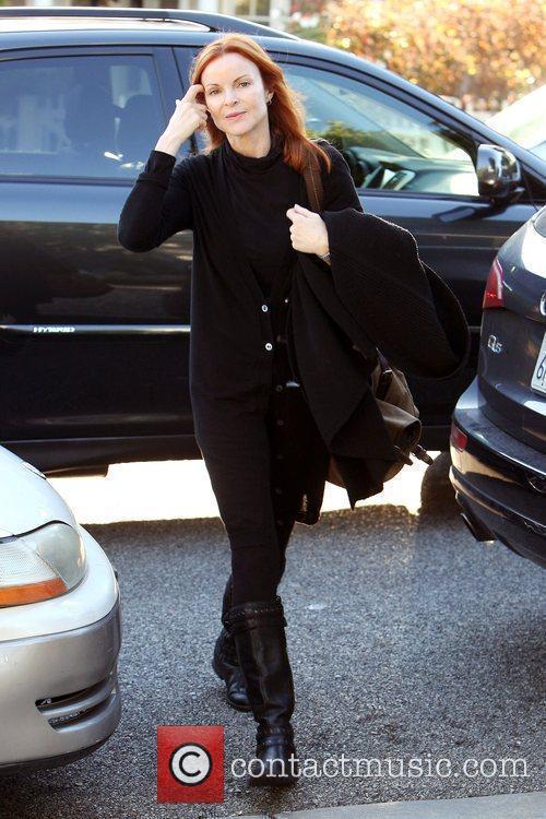 Marcia Cross in Brentwood wearing an oversized black...