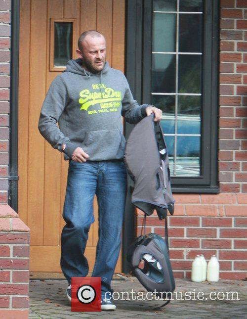 Mark Croft leaving home with his children Cheshire,...