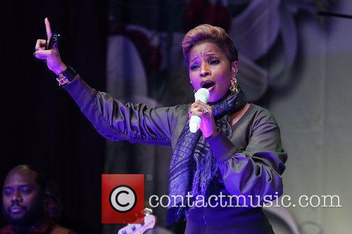 Mary J Blige performs at a free outdoor...